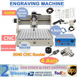 400w 4 Axis Cnc 3040 Router Engraver Machine Drilling Diy Artwork Carver Cutter