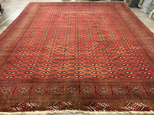 10x13 Red Vintage Wool Rug Hand Knotted Oriental Handmade Fine A