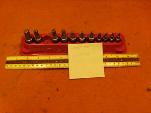 Snap On 212eftxy Minus 1 Bit 11pc Torx Bit Set Some 1 4 Drive Some 3 8 Drive