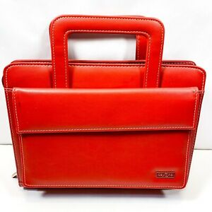 Franklin Covey Day One Red Simulated Leather Zip Binder Planner With Handles
