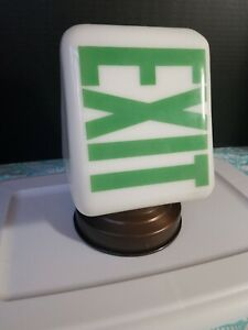 Vintage White Milk Glass Green Exit Light Sign With Original Holder Art Deco