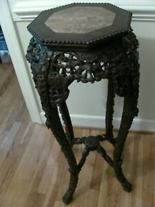 ANTIQUE CHINESE HAND CARVED WOOD MARBLE TOP JARDINIERE STAND TABLE