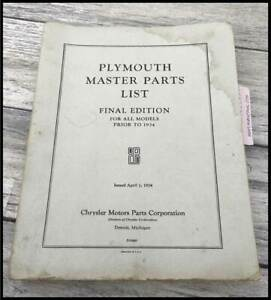 Vintage 1934 Plymouth Master Parts List Manual Deluxe Convertible Coupe Mopar