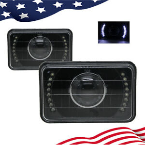 4x6 5 Inch White Led Black Projector Sealed Beam Square Headlights Lamps