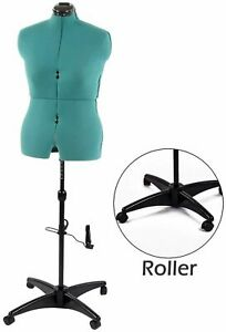Female Mannequin Torso Body Sewing Dressmakers 11 Dials Dress Form Rolling Base