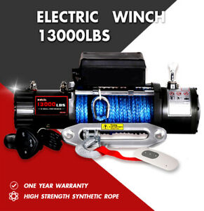 X bull Electric Winch 13000lbs 12v Synthetic Rope Towing Truck Trailer Jeep 4wd
