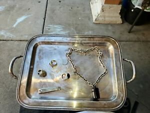 Vintage Silver Plated Chased Serving Tray With Handles