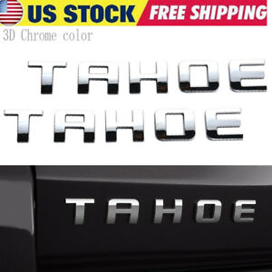 2x Genuine Chrome Tahoe Nameplate Emblem For Gm 07 18 Chevrolet Glossy New
