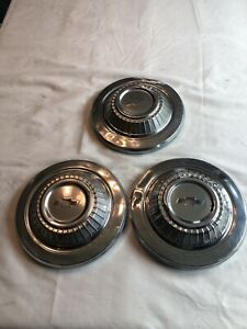 Vintage 3 Chevrolet Bowtie Hubcaps 1960s 1970s Dog Dish Poverty Chevy Dog Dish