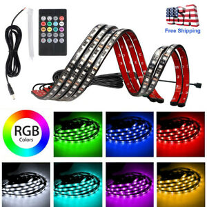36 48 Led Strips Rgb Car Truck Underbody Under Glow Neon Light Tube System Kit
