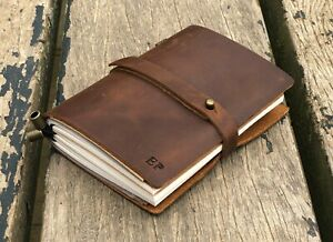 Personalized Leather Journal Notebook A6 Genuine Leather Daily Writing Notebook
