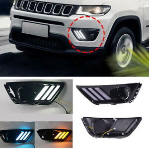 Pair Led Drl Daytime Running Light front Fog Lights Fit For Jeep Compass 17 2019