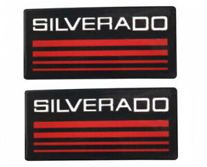 2x Red Silverado Line Cab Emblem Badge Side Roof Pillar Decal For Chevy