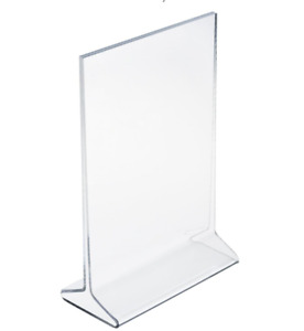 25 Piece Lot Of 4 X 6 Acrylic Sign Holder Tabletop Top Insert T style Clear