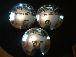Vintage 1940 s 1950 s Mopar Plymouth Dog Dish 10 Inch Wheel Covers