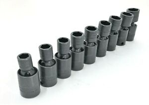 Snapon Metric Flank Dr 6 Point Shallow Swivel Impact Socket Set 3 8 Drive 9 Pcs
