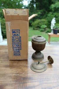 Vtg Large 6 25 Perko Oil Lamp Smoke Bell Solid Brass Weighted Marine W Box