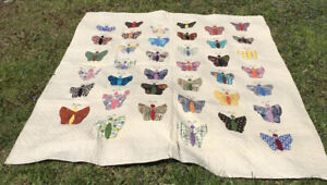 Vintage Hand Made Appliqu Butterfly Quilt 78 X92