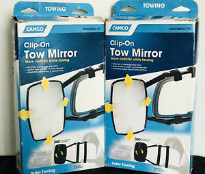 Camco Clip On Tow Mirrors 5 X 7 1 2 Set Of 2 In Boxes Universal Fit Excellent
