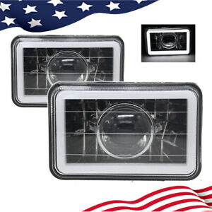 4x6 White Ccfl Halo Clear Lens Chrome Black Sealed Beam Projector Headlight