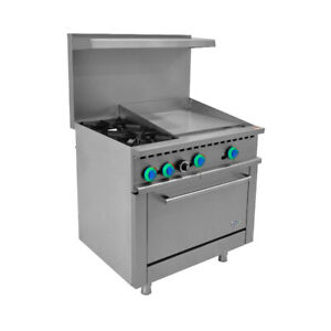 36 Commercial Gas Range 2 Burner With 24 Griddle And 1 Oven