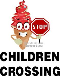 Children Crossing Decal choose Your Size Ice Cream Truck Concession Sticker