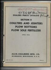 Allis chalmers Coulters And Jointers Plow Bottoms Dealer Parts Catalog
