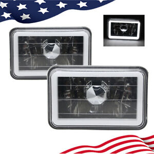 4x6 Inch Chrome Crystal Ccfl White Led Sealed Beam Square Headlights Lamps