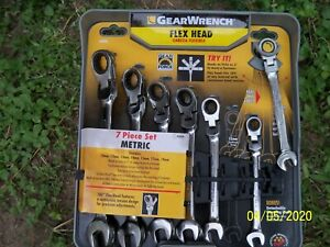 Gearwrench 7 piece Flex Head Ratcheting Combination Wrench Set metric New