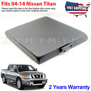Fits 2004 2014 Nissan Titan Leather Center Console Lid Armrest Cover Dark Gray