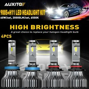 Auxito 4pcs 9005 H11 Led Headlight Kit Cree Hi lo Beam Bulbs Super White 6000k
