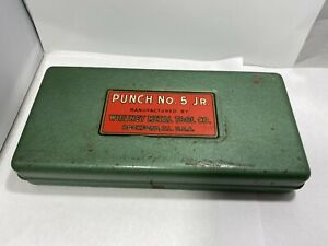 Vintage Whitney Metal Tool Co No 5 Jr Hand Punch Metal Case