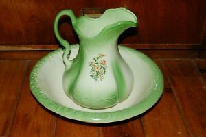 Vintage Ironstone 1899 Made In England Pitcher And Wash Basin