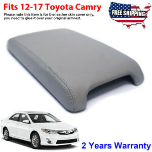 Fits 2012 2017 Toyota Camry Leather Center Console Lid Armrest Cover Skin Gray