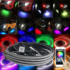 Universial Rgb Led Underbody Car Tube Strip Underglow Neon Light Kit App Control