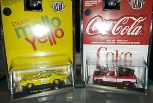 M2 Machines Coca-Cola Coke 1975 GMC Red chase Truck, Mellow Yellow Charger chase