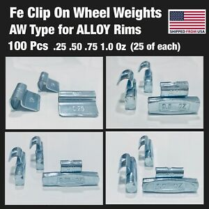 100 Pieces Fe Clip On Wheel Weights 25 50 75 1 0 25 Each Alloy Rim Aw Type