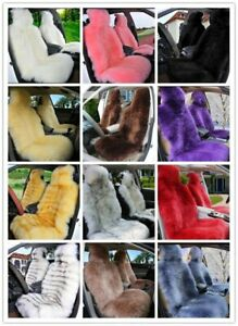 1pc Real Australian Sheepskin Long Fur Front Car Seat Cover Universal Fit