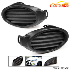Pair Fit For Ford Focus 2012 14 Front Bumper Fog Light Hole Cover Bezel