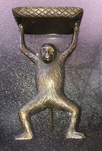 Vintage Brass Standing Monkey Business Card Holder Soap Dish Trinket Tray