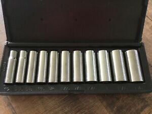 Vintage Kd Tools Deep 1 2 Dr Sae Socket Set 1 2 1 1 8 Made In Usa 12 Point