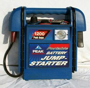 Portable Battery Jump Starter Peak Charger Jumper 1200 Amps W 2 Charging Cords