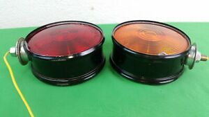 Vtg Peterson Canned Lights 410 15 Sae 1st 75 Dbl Sided Red Amber 4 3 8 Inv1