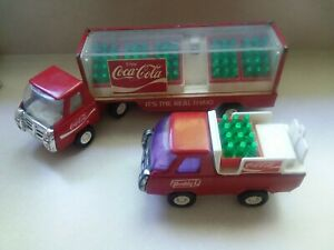 2 Vintage Buddy L Coca Cola Trucks Semi and  Delivery Truck with Bottles