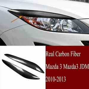Carbon Fiber Headlight Eyelid Eyebrow Cover Fit For Mazda 3 Mazda3 Jdm 2010 2013
