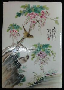 Chinese Antique Hand Painting Beautiful Flowers Birds Porcelain Panel Liuyucen