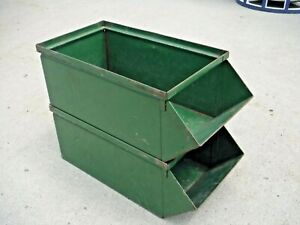 2 Vintage Green metal Parts Bins Stacking Storage nesting industrial stackbin