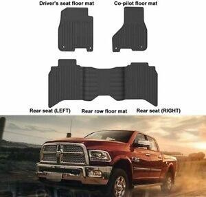 Front Rear Black Slush Floor Mats For 2013 2017 Dodge Ram 1500 Crew Cab