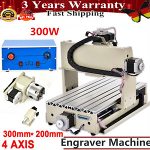 4 Axis 3020 Cnc Router Engraver Engraving Metal Carving Machine 300w Drilling