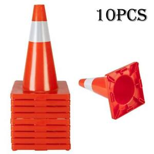 10pcs Pvc Traffic Cones 18 Fluorescent Reflective Road Safety Parking Cones Us